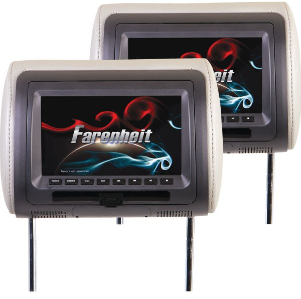 Farenheit HRD-72CCP 7 LCD/DVD Universal Headrest Replacements with 16GB SD/USB and Interchangeable Color Skins Pair