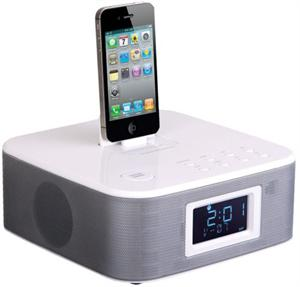 Power Acoustik HP-210i iDock Alarm Clock with FM Radio iPod/iPhone Dock and 3.5mm Aux Input White