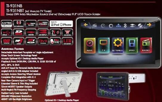 Farenheit TI-931NB 9.3 Single DIN Navigation Ready Multimedia Receiver with BlueTooth V2.1 EDR, Detachable for Optional Home Docking