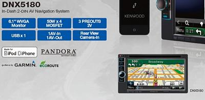 Kenwood DNX-5180 6.1 Inch LCD 2 DIN NAV/DVD RECEIVER MOBILE VIDEO/NAVIGATION