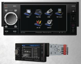 Power Acoustik PD-535T Single DIN 5.3 Inch Touch Screen LCD/DVD AV Receiver with USB/SD