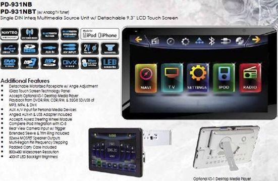 Power Acoustik PD-931NB 9.3 Single DIN Navigation Ready Multimedia Receiver with BlueTooth V2.1 EDR ,Detachable for Optional Home Docking