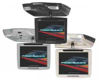 Power Acoustik PMD-103CMGR 10.4 Inch Widescreen Ceiling Mount Flip Down LCD with DVD Player Gray