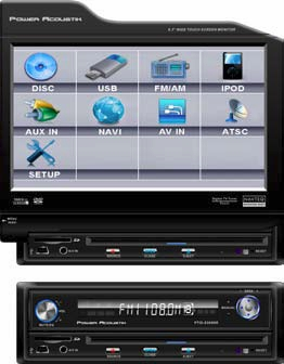 Power Acoustik PTID-8300NR Single Din 8.3 Inch Flip-Up Touch Screen DVD/LCD A/V Source Unit