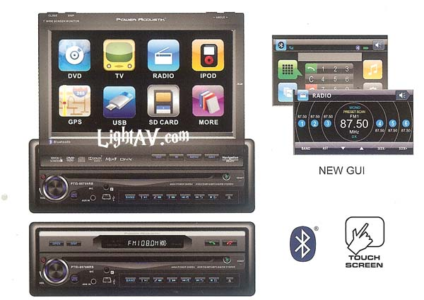 Power Acoustik PTID-8970NRB 7 Inch Single DIN Touch Screen DVD/LCD with Bluetooth, USB Mini, SD Card Slot, 3.5mm Inputs