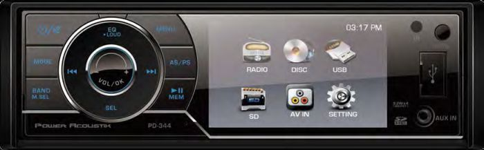 Power Acoustik PD-344 Single DIN 3.4  LCD / DVD A/V Receiver with SD / USB / Aux