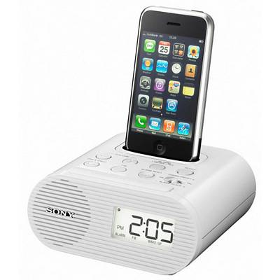 sony icfc05ipwht white alarm clock fm radio with ipod iphone dock. Black Bedroom Furniture Sets. Home Design Ideas