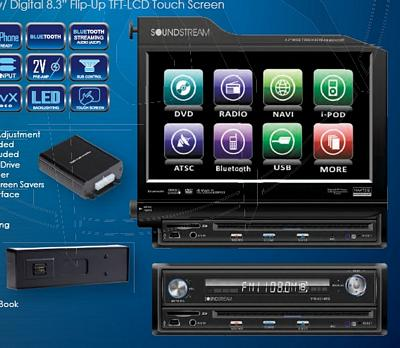 SoundStream VIR-8310NRB  Single Din 8.3 Inch Touch Screen LCD/DVD Receiver with USB/3.5MM, Bluetooth 2.0