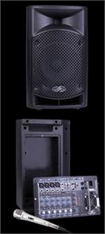Power Acoustik P-8AMX 600W 8 2 Way Portable PA System w/ Removable 8 Channel Mixer & Mic